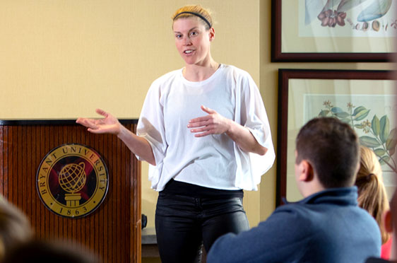 Entrepreneur Monika Sattler '08 speaks to Global Studies students
