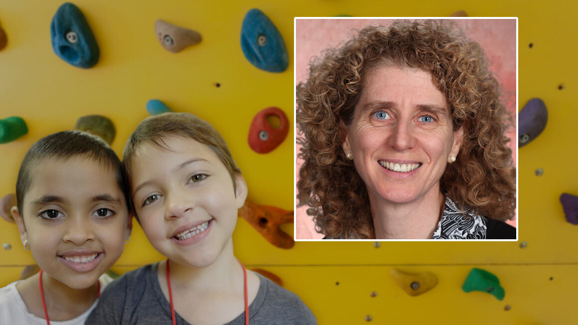 Headshot of Professor Weinberger against yellow background and faces of 2 kids
